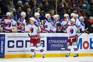 Lev celebrates in Gagarin Cup finals 2014