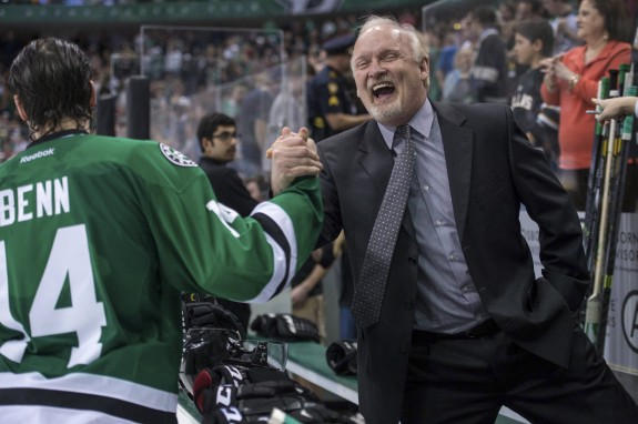 Stars head coach Lindy Ruff celebrates his team's playoff berth (Jerome Miron-USA TODAY Sports)