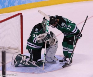North Dakota loses to Minnesota in the semifinals of the Frozen Four. [photo: Josh Smith]