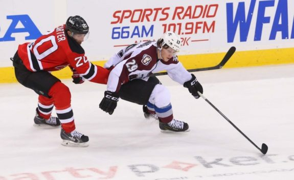 MacKinnon in his first NHL season, playing against the NJ Devils.