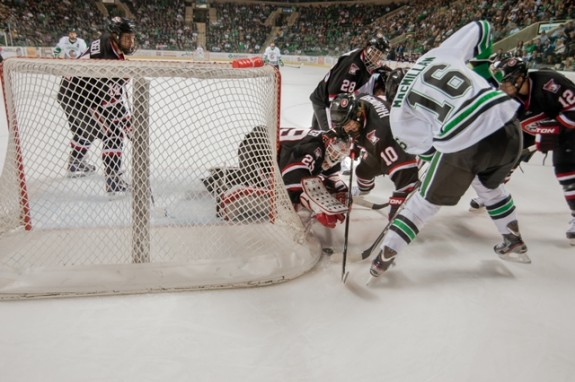 SCSU goalie Ryan Farager (Eric Classen/UND Athletics)