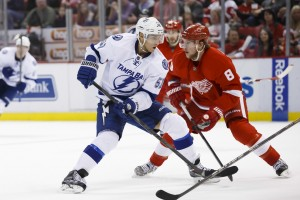 Tampa Bay Lightning forward Valtteri Filppula and Detroit Red Wings forward Justin Abdelkader