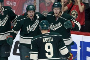 Captain Mikko Koivu was a big part of the Wild's win Saturday night, scoring two goals and setting the franchise record for 115 multi point games. (Brace Hemmelgarn-USA TODAY Sports)