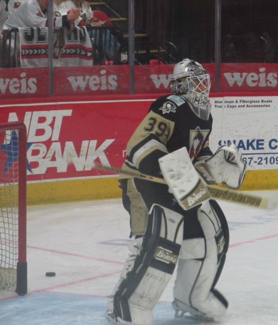 Goaltender Peter Mannino has made some big saves for the Penguins in the first two games. (Alison Myers/THW)