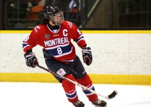 Cathy Chartrand skating for the Canadian Women's Hockey League Montreal Stars franchise.
