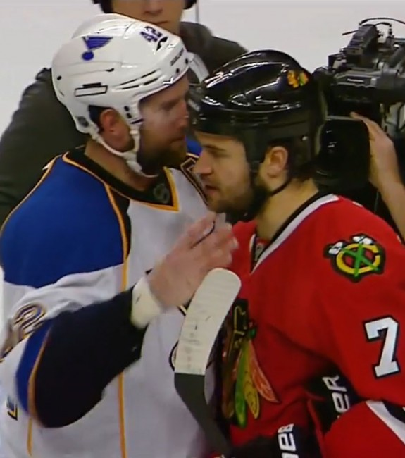 Maybe one day David Backes & Brent Seabrook will shake hands following a Cup Final. (courtesy NHL.com)