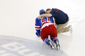 Derek Stepan is currently sidelined with a broken fibula. (Andy Marlin-USA TODAY Sports)