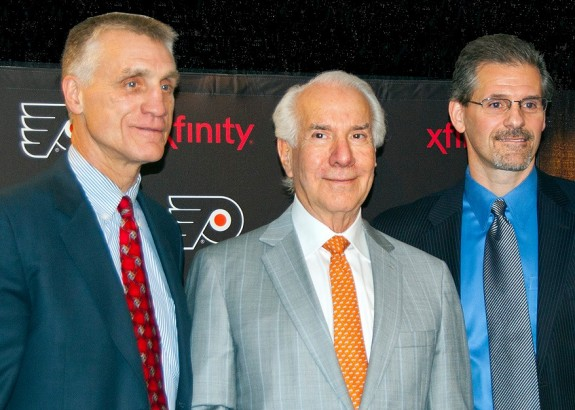 Flyers year of 2014: It was a busy year for Flyers owner, Ed Snider (center). (Scoop Cooper)