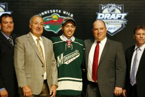 Matt Dumba was drafted seventh overall in 2012 by the Minnesota Wild. The defenceman scored 8 goals in the 2014-15 season with the Wild, showing off some of his offensive capabilities. (Charles LeClaire-USA TODAY Sports)
