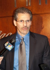 Ron Hextall answers questions after being named General Manager. [photo: Scoop Cooper]
