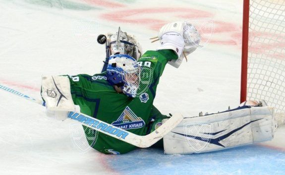 Andrei Vasilevskiy makes a save while playing in the KHL.