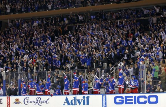 Rangers bench and fans