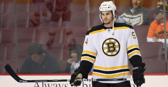 While the Bruins gamble with Johnny Boychuk, GM Peter Chiarelli could spin the odds in his favor by dealing Adam McQuaid (above).