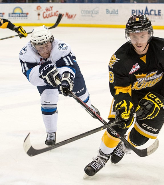 (Rick Elvin/WHL) Jayce Hawryluk of the Brandon Wheat Kings scored a winning goal against Russia on Tuesday and would love to score another on a bigger stage, suiting up for Canada at the world juniors.