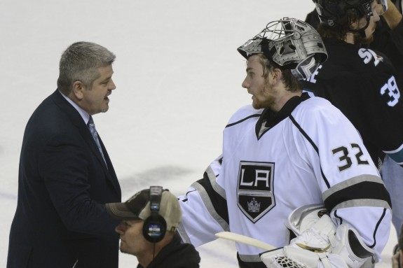 Despite the apparent pleasantries, there is little lost love in the Kings/Sharks rivalry. (Kyle Terada-USA TODAY Sports)