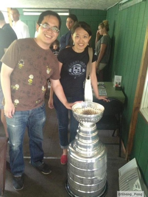 My wife and I crashing Dustin Brown's Day with the Cup in Ithaca, NY (2012)