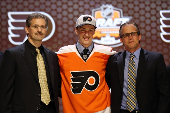 While they may not be father-son, Travis Sanheim is related to Flyers GM, Ron Hextall, nonethless. (Bill Streicher-USA TODAY Sports)