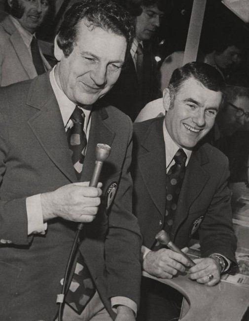Dick Irvin Jr. - to the right of long time broadcast partner Danny Gallivan