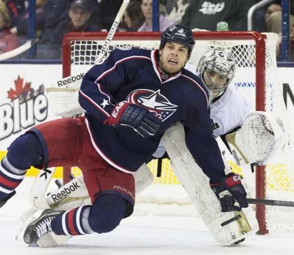 (Greg Bartram-USA TODAY Sports) Nathan Horton of the Columbus Blue Jackets, seen here screening Pittsburgh Penguins goaltender Marc-Andre Fleury, tops the Big List of Comeback Candidates. Ironically, Fleury also earns a mention further down.