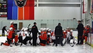 Philadelphia Flyers prospects take a knee at development camp. [photo: Amy Irvin}