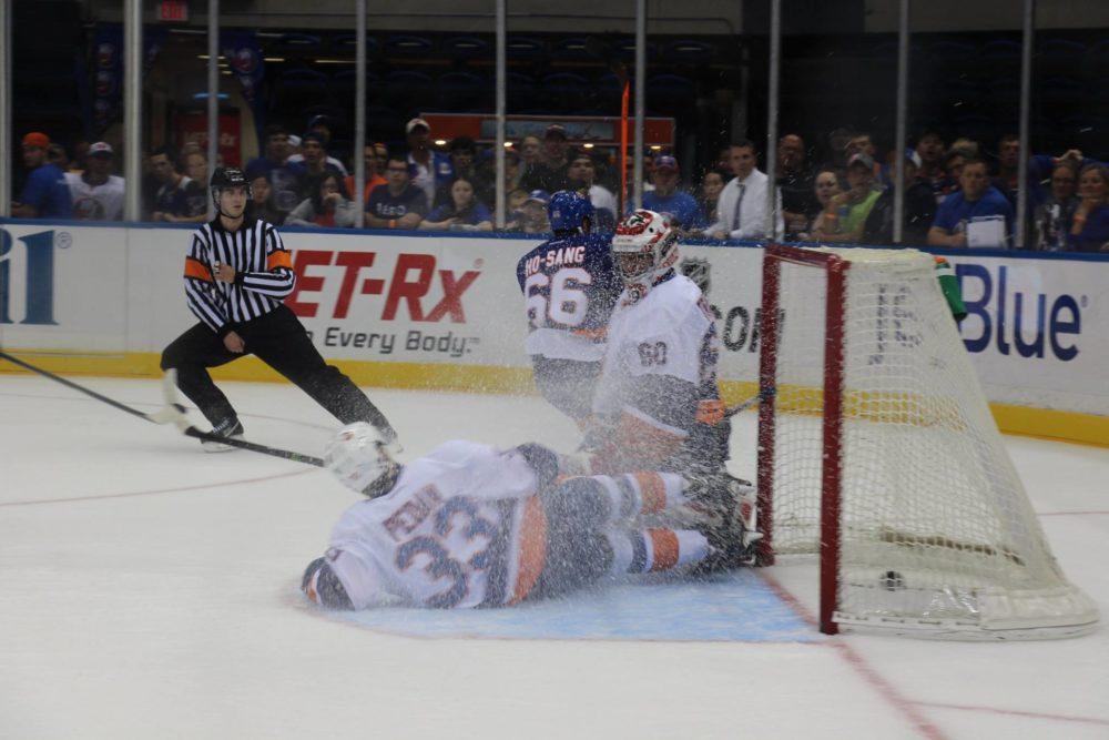 Joshua Ho-Sang Scores at the 2014 Islanders Rookie Scrimmage. (Michael Hirschbein/ Fan vs. Fan)