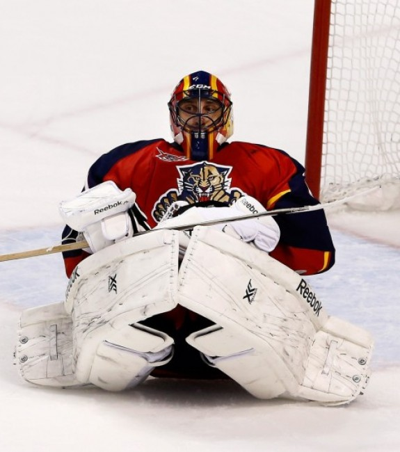 Roberto Luongo as a member of the Florida Panthers. Although he is the Canucks best goalie in franchise history, his Octobers in Vancouver were something to forget. (Robert Mayer-USA TODAY Sports)