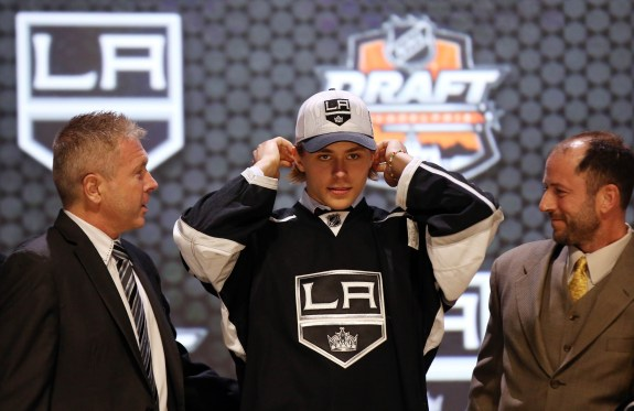 Adrian Kempe could provide a much-needed offensive boost to the low-scoring Kings (Bill Streicher-USA TODAY Sports)