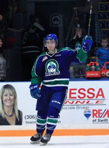 (Photo by Darwin Knelsen/www.WHL.ca) Swift Current Broncos forward Jay Merkley salutes the hometown crowd after being named the first star in Friday's 6-0 win over the Moose Jaw Warriors. Merkley had a hat trick in that game and scored two more goals in Saturday's 5-2 victory at Moose Jaw.