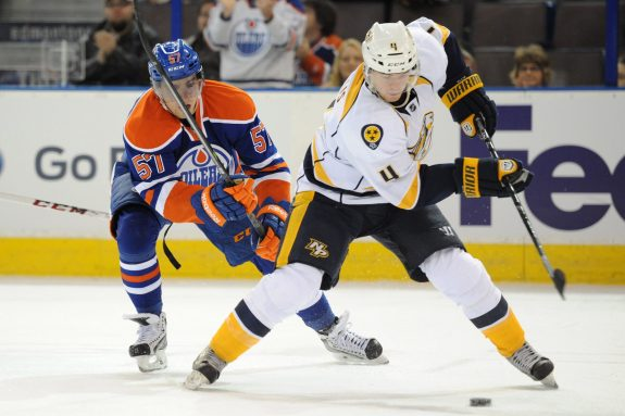 (Candice Ward-USA TODAY Sports) Ryan Ellis of the Nashville Predators is seen here battling against the Edmonton Oilers, who could have drafted him instead of Magnus Paajarvi at ninth overall in 2009.