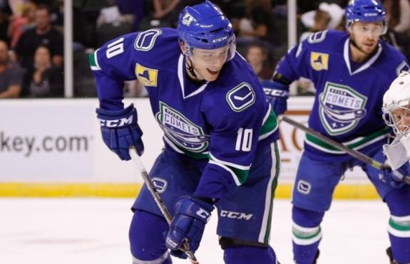 Brendan Gaunce's stellar play in the AHL playoffs may earn him a spot on the Canucks next season. (Texas Stars Hockey).