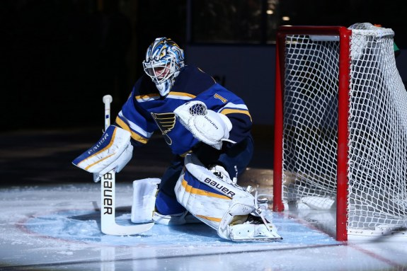 (Billy Hurst-USA TODAY Sports) Brian Elliott has been solid since assuming the role of St. Louis Blues starting goaltender this season. He ranks top 10 in both goals-against average and save percentage after 10 appearances.