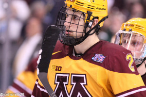 Minnesota Golden Gophers Defenseman Brady Skjei at the 2014 Frozen Four
