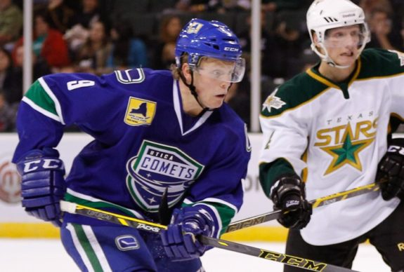 Hunter Shinkaruk has an outisde chance of making the Canucks next season. Spending another season down in Utica would likely be better for his development. Credit: Texas Stars Hockey