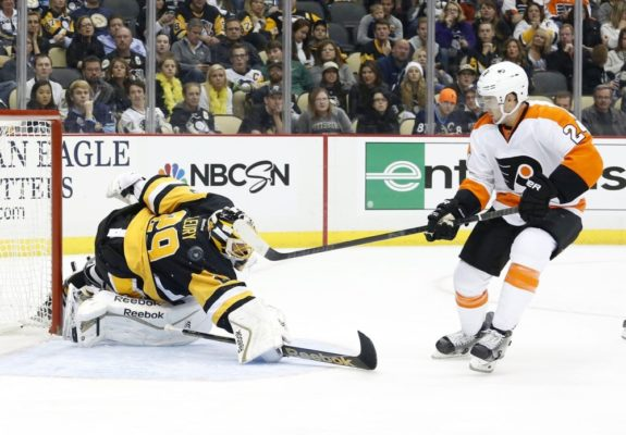 Marc-Andre Fleury, Matt Read, Pittsburgh Penguins, Philadelphia Flyers