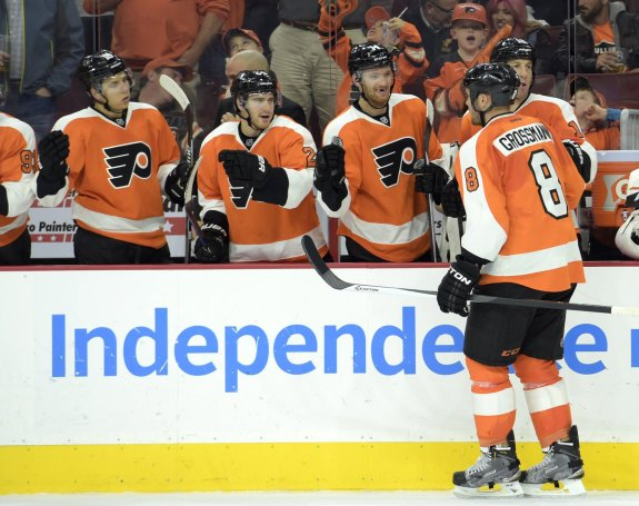 "Flyers fans were treated to the phrase, ""Grossmann scores for a case of Tastykakes"" on Saturday night against Detroit."