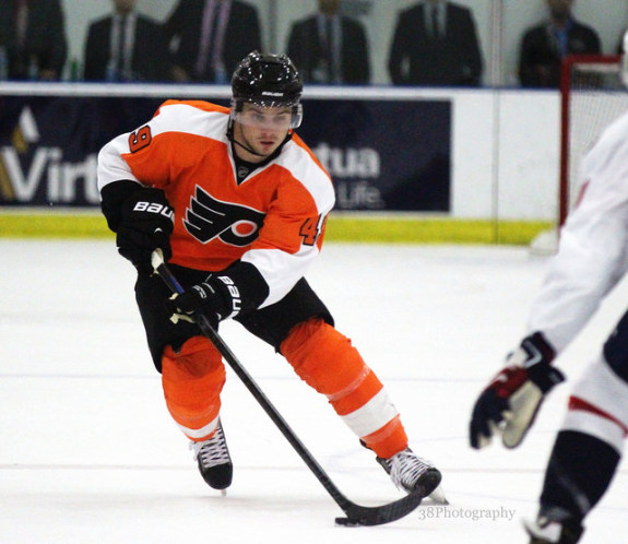 Scott Laughton during the Philadelphia Flyers/Washington Capitals rookie game. [photo: Amy Irvin]