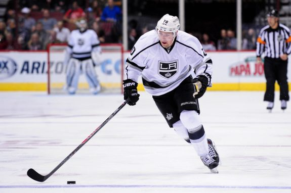 Tanner Pearson is one-third of 'L.A.'s infamous 'That 70s Line'. (Matt Kartozian-USA TODAY Sports)