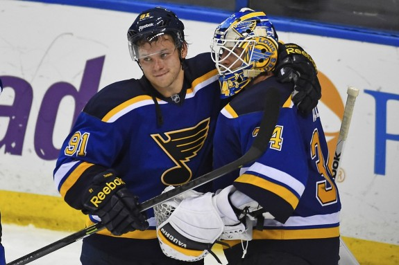 Jake Allen is glad he only has to face the dangerous Vladimir Tarasenko in practice. (Jasen Vinlove-USA TODAY Sports)
