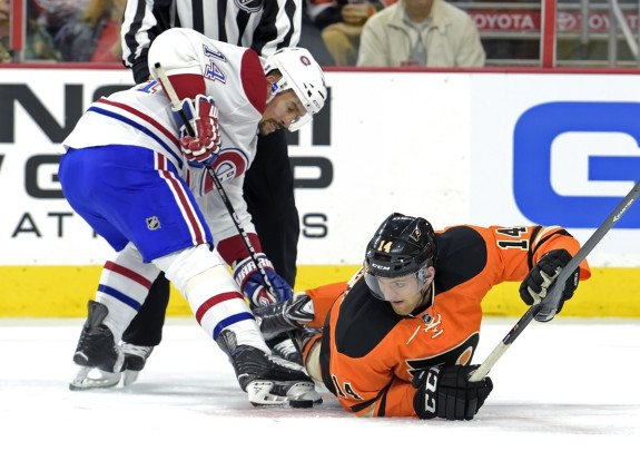 Despite an overtime loss to the Habs (above), as well as their most recent loss in Tampa on Thursday, the Flyers finished the month of October with a 4-4-2 record.