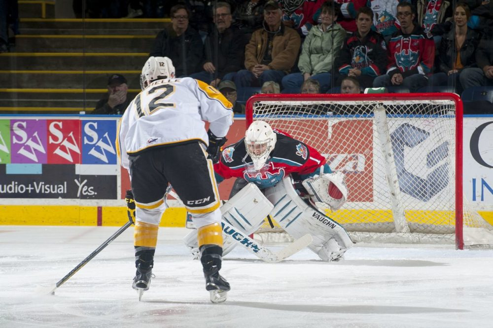 (Marissa Baecker/www.shootthebreeze.ca) Kelowna Rockets goaltender Jackson Whistle stared down and stoned Brandon Wheat Kings forward Jesse Gabrielle on this first-period penalty shot during WHL action on Saturday evening at Prospera Place in Kelowna. The Rockets went on to win 6-1 thanks to 31 saves from Whistle.