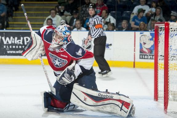 (Marissa Baecker/shootthebreeze.ca) Ti-City Americans goaltender Eric Comrie is vying for the backup job with Team Canada and can help his cause with a stellar performance in the Super Series.
