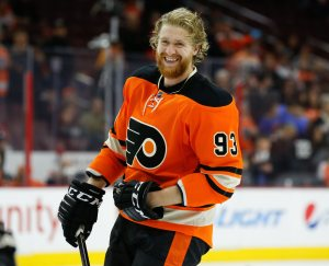 Jakub Voracek is among the NHL leader in points. (Bill Streicher-USA TODAY Sports)