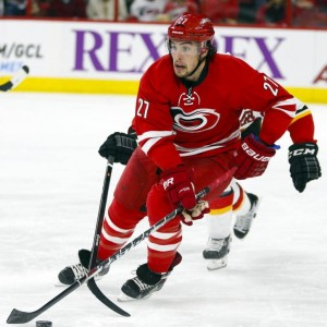 Justin Faulk's injury is not good for the 'Canes run at making the NHL playoffs (James Guillory-USA TODAY Sports)