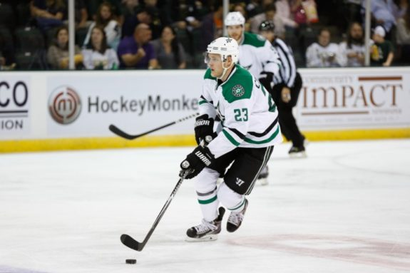 Kevin Connauton as a member of the Dallas Stars. He has flourished ever since Columbus picked up off of waivers from the Stars. Credit: Michael Connell/Texas Stars Hockey