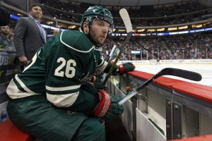 Thomas Vanek has been stepping up for the Minnesota Wild recently, scoring a goal against Dallas Saturday night and collecting an assist the night before. (Brace Hemmelgarn - USA TODAY Sports)