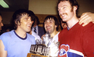 Montreal Canadiens defensemen Serge Savard, Guy Lapointe, and Larry Robinson