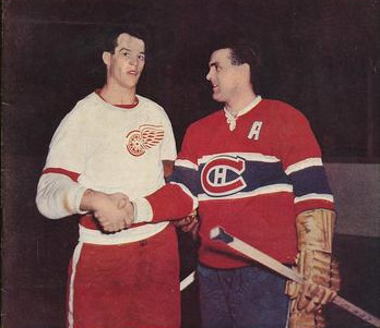 (THW file photo) Two of hockey's greatest families shake hands here as Maurice Richard, right, congratulates Gordie Howe on his 626th goal, which equaled the Rocket's record.