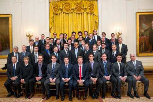 Antonie Laganiere with the rest of the 2012-2013 NCAA D-1 Champions Photo Credit: (Chuck Kennedy/The White House)