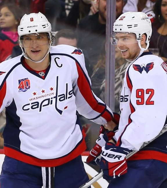 (Ed Mulholland-USA TODAY Sports) Evgeny Kuznetsov of the Washington Capitals, right, could emerge as a breakout star this season, especially if he gets to continue playing with Alex Ovechkin.