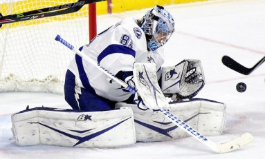Andrei Vasilevskiy Bolting for Tampa's Crease
